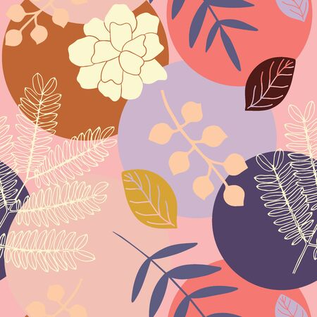 Abstract colorful seamless repeat pattern with leaves and flowers. Background with circles in modern style. Perfect for summer decoration.
