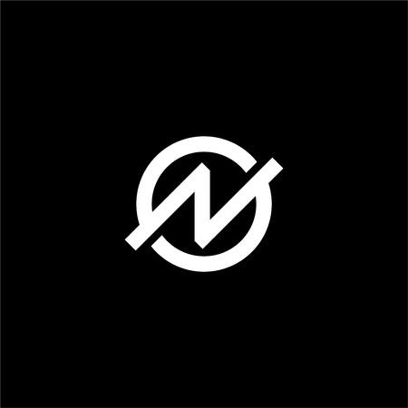 N letter logo black and white