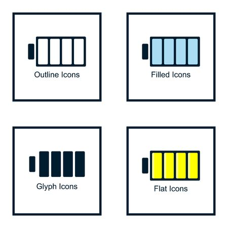 BATTERY ICONS WITH SOME KINDS OF STYLES, LINE ICONS, FILLED ICON, GLYPH ICON, AND FLAT ICON
