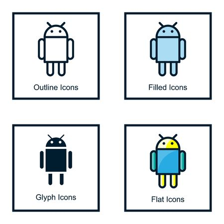 ANDROID ROBOT ICONS WITH SOME STYLES, ICON OUTLINES, FILLED ICON, GLYPH ICON, FLAT ICON