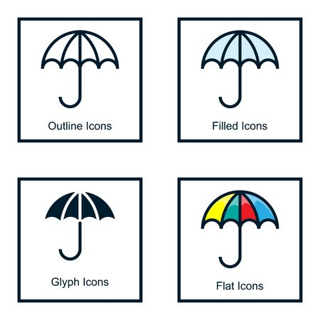 UMBRELLA ICONS WITH SOME KINDS OF STYLES, LINE ICONS, FILLED ICON, GLYPH ICON, AND FLAT ICON