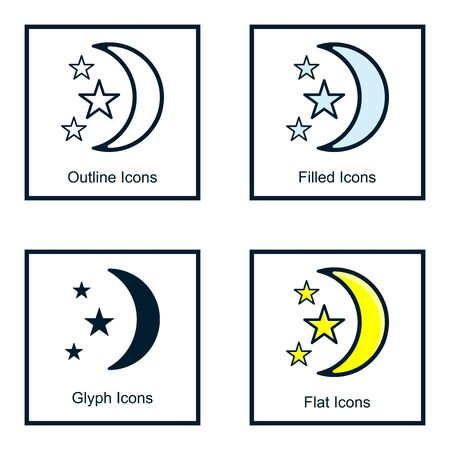 THE MOON AND STARS ICONS WITH SOME KINDS OF STYLES, LINE ICONS, FILLED ICON, GLYPH ICON, AND FLAT ICON