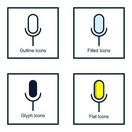 MICROPHONE ICONS WITH SOME KINDS OF STYLES, LINE ICONS, FILLED ICONS, GLYPH ICONS, AND FLAT ICONS Иллюстрация