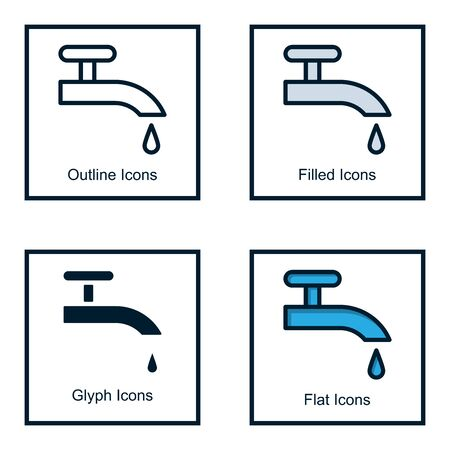 WATER FAUCET ICONS WITH SOME KINDS OF STYLES, LINE ICONS, FILLED ICONS, GLYPH ICONS, AND FLAT ICONS Stock Illustratie