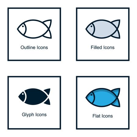 FISH ICONS WITH SOME KINDS OF STYLES, LINE ICONS, FILLED ICONS, GLYPH ICONS, AND FLAT ICONS