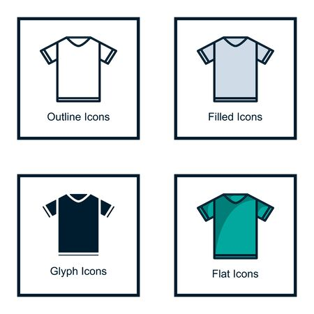 SHIRT ICONS WITH SOME KINDS OF STYLES, LINE ICONS, FILLED ICONS, GLYPH ICONS, AND FLAT ICONS