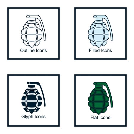 GRANATE ICONS WITH SOME KINDS OF STYLES, LINE ICON, FILLED ICON, GLYPH ICON, AND FLAT ICON Иллюстрация