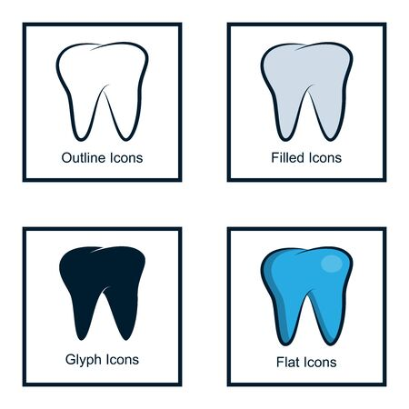 DENTAL ICONS WITH SOME KINDS OF STYLES, LINE ICON, FILLED ICON, GLYPH ICON, AND FLAT ICON Illustration