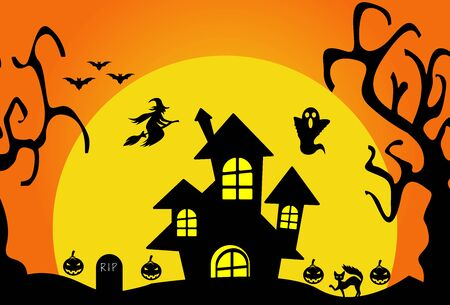 HALLOWEEN BACKGROUND VECTOR COLLECTION ,, LANDSCAPE