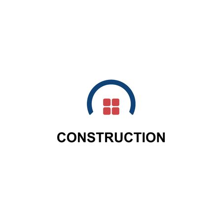 CONSTRUCTION LOGO WITH HOUSE SYMBOL