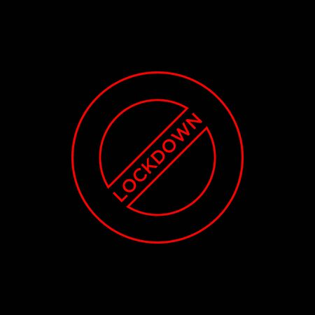 vector logo design lockdown. locking icon. in red. and black background