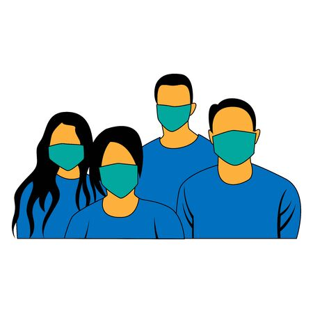 illustration of people wearing masks to prevent dirt and viruses from entering the respiratory tract