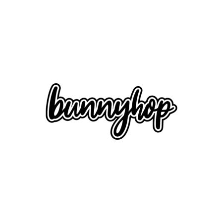 typography bunnyhop words, hand lettering, black and white Иллюстрация