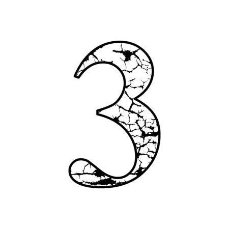 number 3 with lightning motif, logo number crack effect