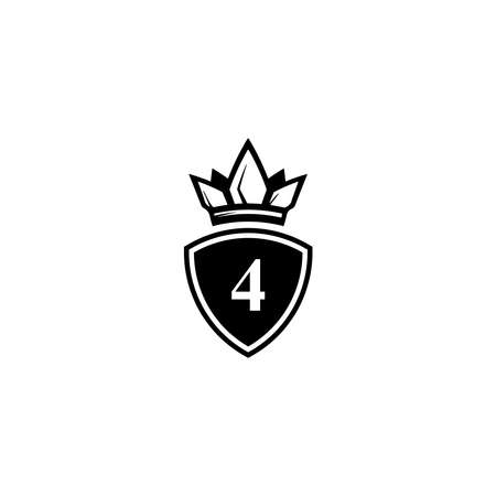 number 4 logo with king crown symbol for company logo icon design.