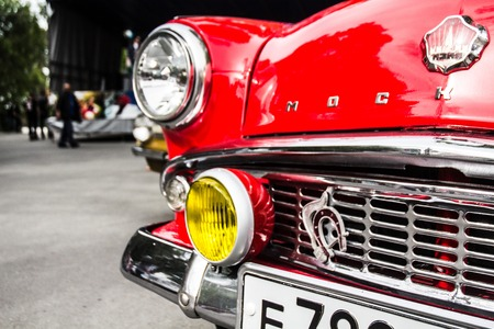 very beautiful old car with an inside view at the festival of vintage cars