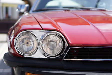 Red Classic Car Headlights
