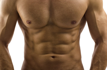 nude abs: Close up on perfect abs. Strong bodybuilder with six pack