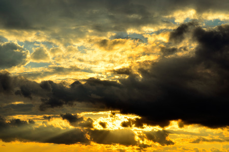 clouded: Clouded sky at sunset Stock Photo