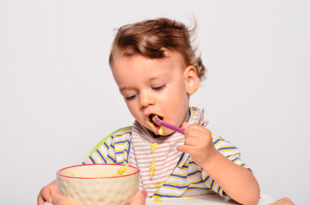 Baby Eating Food With A Spoon, Toddler Eating Messy And Getting