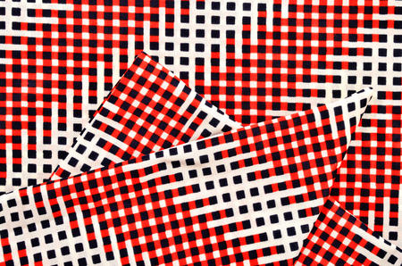 Red, white and blue checked print as background. 写真素材