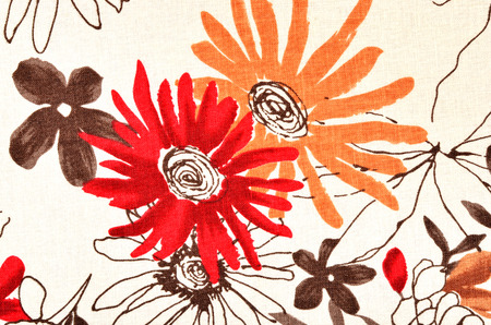 Graphic big red and orange flower print as background. 写真素材