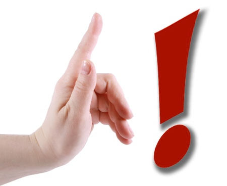 A hand with pointing up finger and an exclamation mark