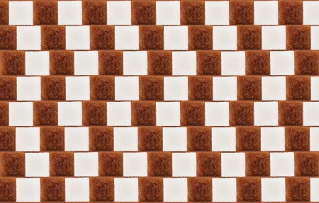 perceived: Optical illusion: parallel lines made from lumps (cubes) of white and cane sugar Stock Photo