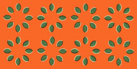 perceptual: Optical illusion  rotation of circles made from green leaves isolated on orange background Stock Photo