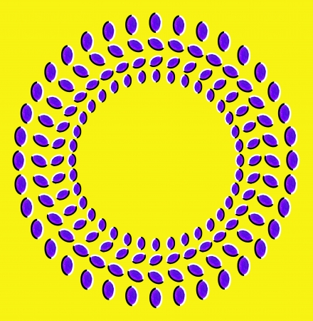 Optical illusion: rotation of circles made from dried fruits isolated on yellow background photo