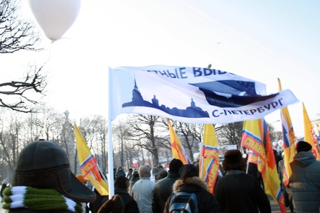 condemnation: Protest meeting against unfair elections in St  Petersburg  Russia  on February 4, 2012
