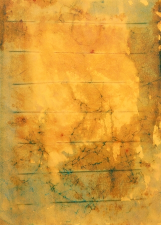Paper with brown, yellow and blue paint abstract. Abstract border frame with vintage background texture design, luxurious paper or grunge wallpaper  Stock Photo