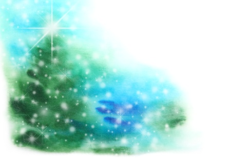 Abstract hand drawn watercolor background  Christmas tree, blue sky, and snowflakes