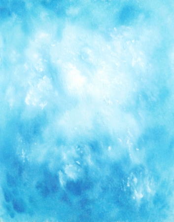 Abstract hand drawn watercolor background  blue sky and white clouds photo