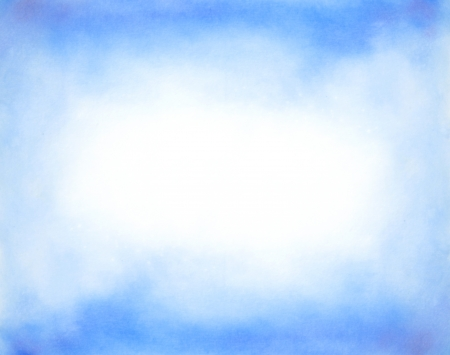 Abstract hand drawn watercolor background  blue sky and white clouds