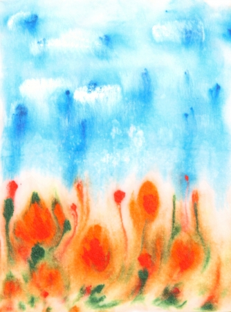 Abstract hand drawn watercolor background  blue sky, green leaves, and red flowers photo