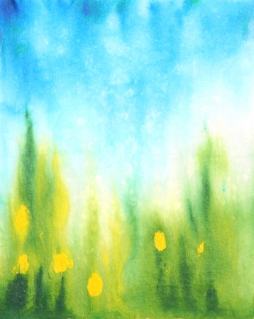 Abstract hand drawn watercolor background  blue sky, green grass and yellow flowers