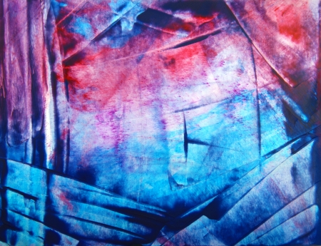 encaustic: Abstract hand drawn paint background  blue and red geometric patterns