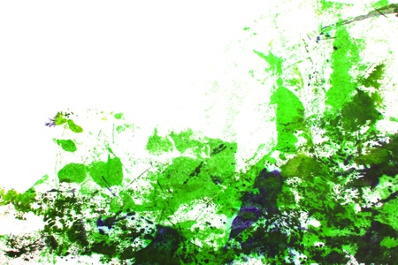 encaustic: Abstract hand drawn painting   graphics  green grass-like patterns on white background  Great for art texture, grunge design, and vintage paper Stock Photo