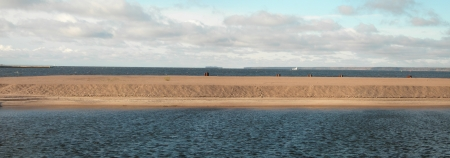 Gulf of Finland panorama (view from St. Petersburg, Russia). For sea coast background and water texture photo