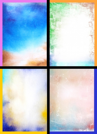 Collage of abstract hand drawn paint backgrounds: red, blue, yellow, and green patterns. Great for art texture, grunge design, and vintage paper
