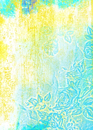 Abstract textured background  blue roses   floral patterns on white backdrop  For art texture, grunge design, and vintage paper   border frame photo