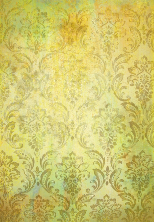 Abstract textured background  yellow and green floral patterns  For art texture, grunge design, and vintage paper   border frame photo