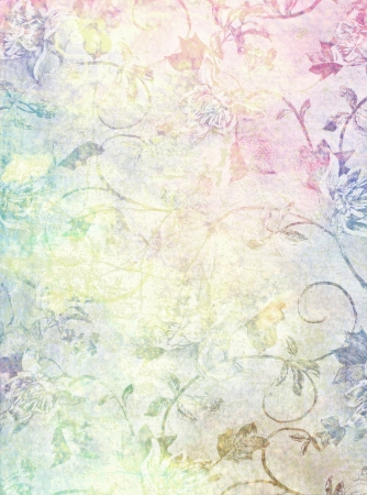 Abstract textured background: blue, brown, and red floral patterns on yellow backdrop. For art texture, grunge design, and vintage paper  border frame
