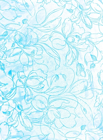 Abstract textured background: white floral patterns on blue sky-like backdrop. For art texture, grunge design, and vintage paper  border frame photo