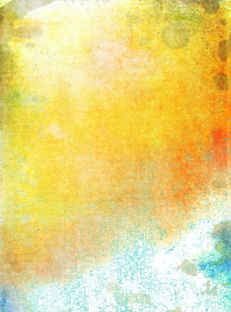 Abstract textured background: blue, yellow, and red patterns on white backdrop. For art texture, grunge design, and vintage paper  border frame