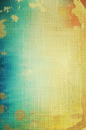Old canvas: abstract textured background with blue, yellow, and brown patterns. For art texture, grunge design, and vintage paper  border frame photo