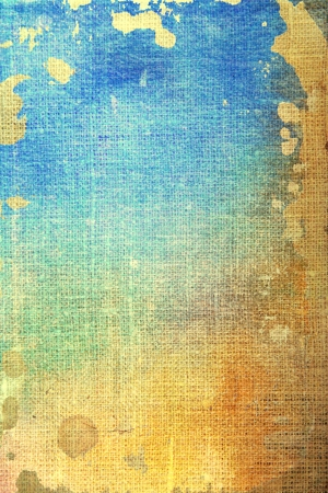 Old canvas: abstract textured background with blue, yellow, and brown patterns. For art texture, grunge design, and vintage paper  border frame