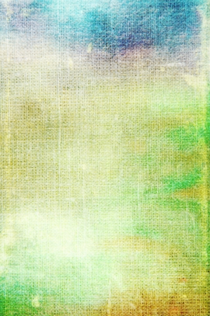 Old canvas: abstract textured background with blue, yellow, and  green patterns. For art texture, grunge design, and vintage paper / border frame Stock Photo - 16670713