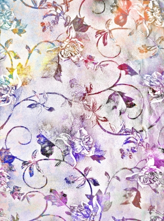 Abstract textured background: blue, yellow, and red flower-like patterns on violet backdrop. For art texture, grunge design, and vintage paper  border frame photo
